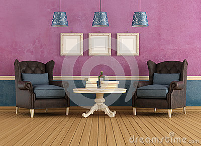 Purple And Blue Vintage Living Room Stock Images Image