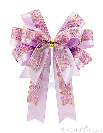 Purple bow ribbon isolated on white background