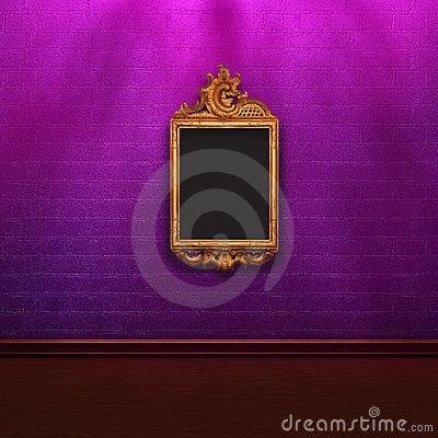 Purple brick wall in shadows with elegant frame
