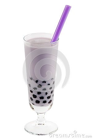 Purple bubble tea with clipping path