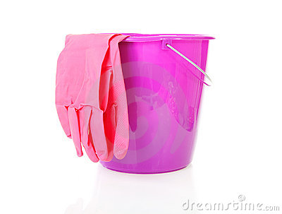Purple bucket and household gloves