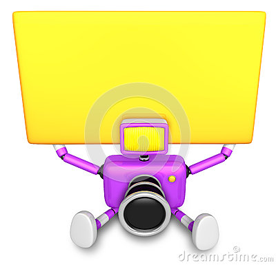 Purple Camera Character up yellow board a thing with both hands.