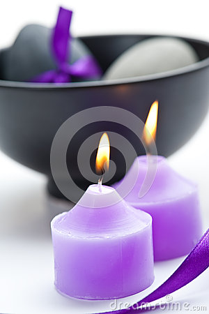 Free Purple Candels And Black Pot Stock Images - 37910574