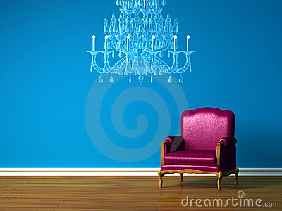 Purple chair in blue minimalist interior