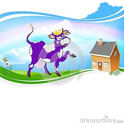 A purple cheerful cow