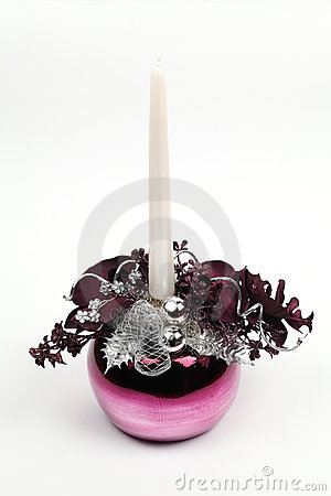 Purple Christmas decoration with candle