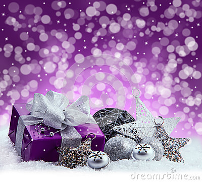 Free Purple Christmas Package , Gift Of A Silver Ribbon. Jingle Bells , Silver Christmas Balls And Christmas Stars Put On Snow. Abstrac Royalty Free Stock Photos - 46862578