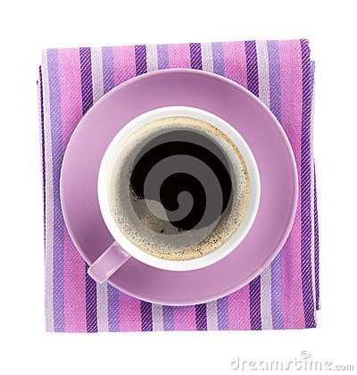 Purple coffee cup over kitchen towel