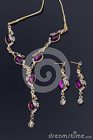 Purple Colored Diamond Necklace Set
