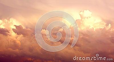 Purple Cumulonimbus Clouds in Sky After Storm