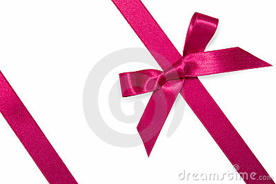 Purple diagonal ribbon with bow