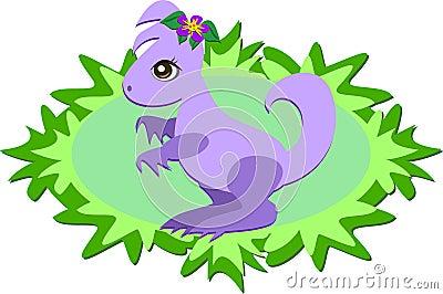 Purple Dinosaur with Plants