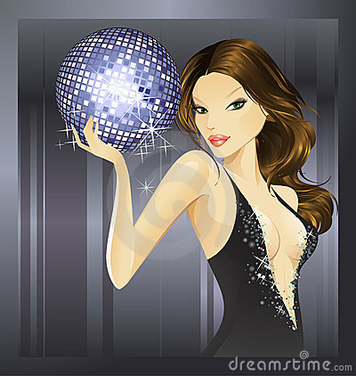 purple disco ball- brunette