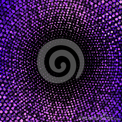 Purple dots on abstract black background