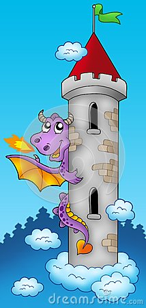 Purple dragon on castle tower