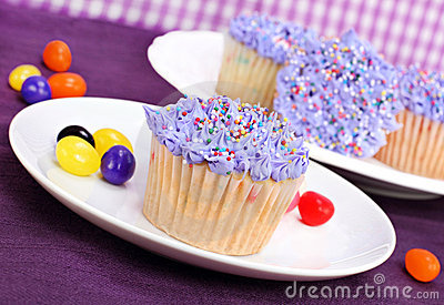 Purple Easter Cupcakes and Jelly Beans