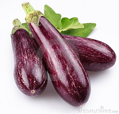 Free Purple Eggplants With Leaves Stock Photo - 14204730