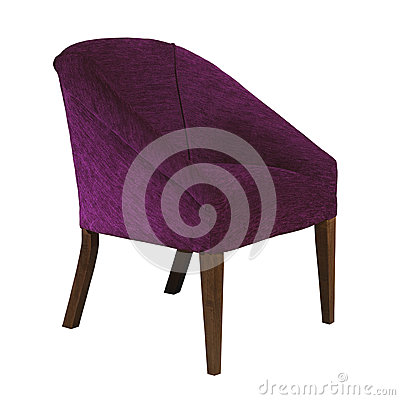 Purple fabric arm chair isolated on white background
