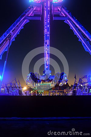 Free Purple Fair Ground Ride Stock Photo - 112230920