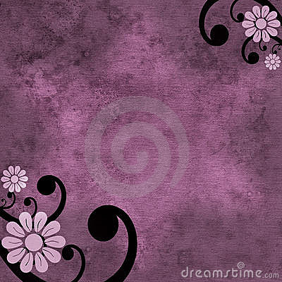 Free Purple Flower And Swirl Background Stock Photography - 9825862