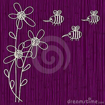 Purple flower and bee background