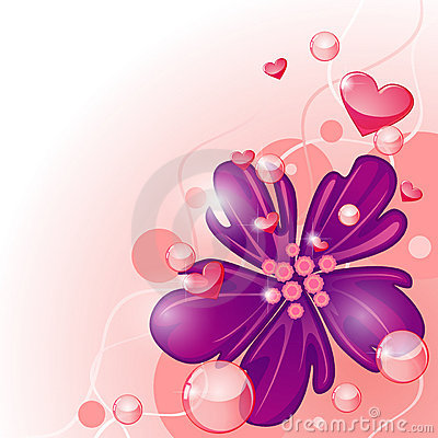 Purple flower and hearts
