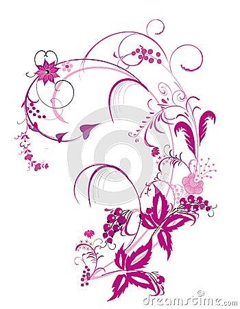 Purple flower  and vines pattern