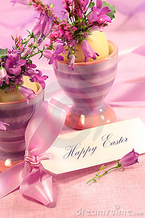 Free Purple Flowers In Eggs Cups Stock Image - 4158421