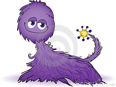 Purple furry creature