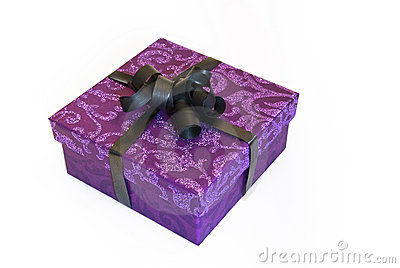 Purple Gift Box With Glitter Royalty Free Stock Photo
