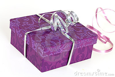 Purple gift box,with ribbon,isolated on white