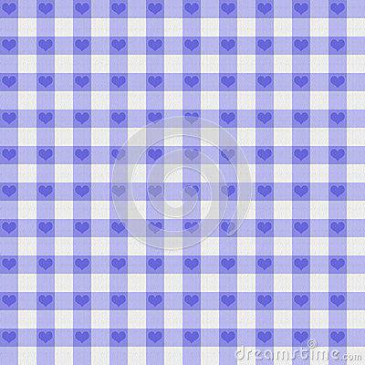 Purple Gingham Fabric with Hearts Background
