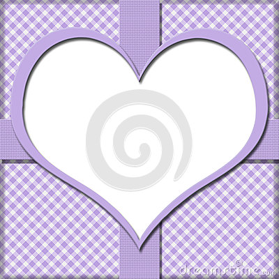Purple Gingham with Heart Center and Ribbon Background for your
