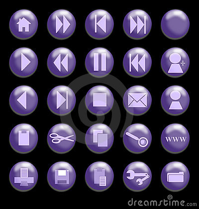 Purple Glass Buttons on a Black Background