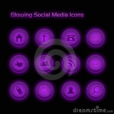 Purple Glowing Social Media Icons