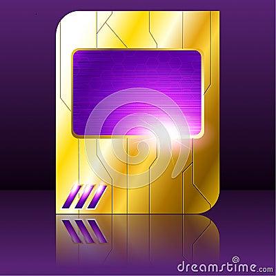 Purple and gold futuristic sign