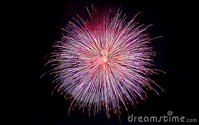 Purple and golden fireworks