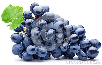 Purple grape with green leaf isolated. Stock Photo