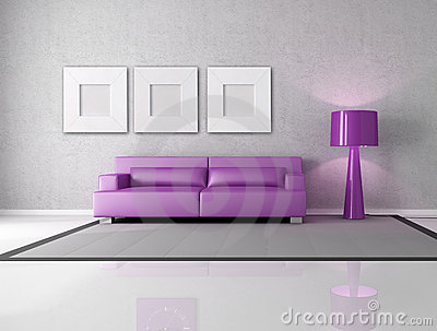 Purple and gray living room