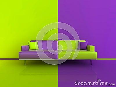 Purple Green Contrast Interior Royalty Free Stock Photo