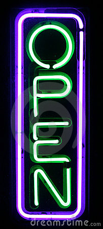 Purple and Green Neon Open Sign