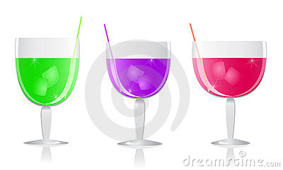 Purple green pink cocktails set