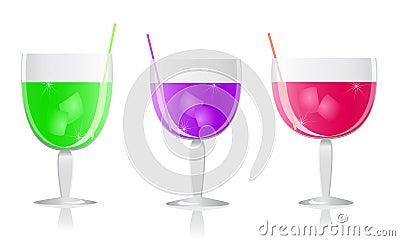 Purple green pink cocktails set