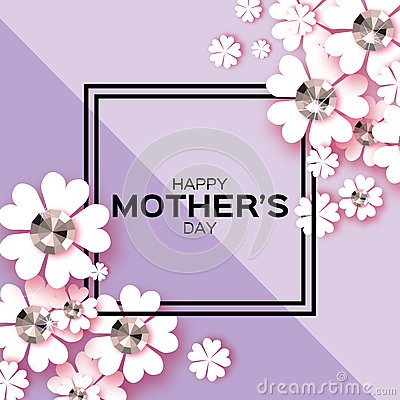 Free Purple Happy Mothers Day. Brilliant Stones. Paper Cut Flower. Square Frame. Stock Photo - 88680880