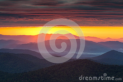 Purple Haze Sunrise Blue Ridge Appalachian Mountai