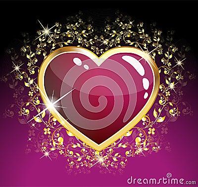 Purple heart of glass