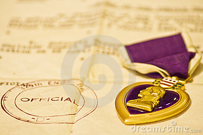 Purple Heart medal and letter