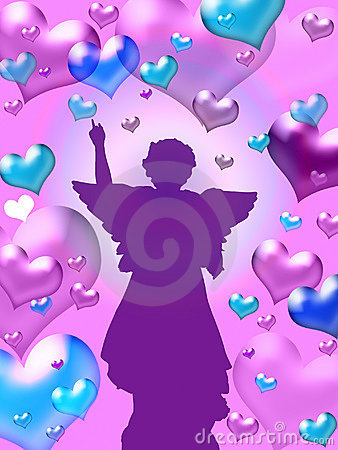 Purple hearts background with angel