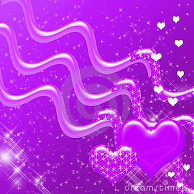 Purple Hearts and Sparkles Backdrop