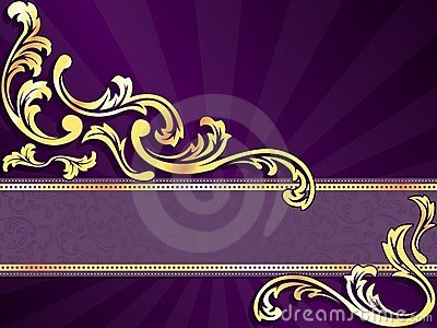 Purple Horizontal Banner With Gold Filigree Royalty Free Stock Images Image